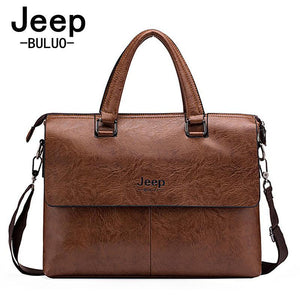 Top Sell Fashion Simple Dot Jeep Famous Brand Business Men Briefcase Bags Leather Laptop Bag Casual Man Bag Shoulder bags JP6015