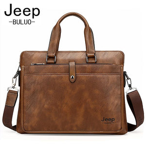 JEEP Famous Brand Men Briefcase Bags For A4 14inch Laptop Cow Split Leather Business Bag Man Shoulder Bag Handbags bolsa JP9616 - PC Traders New Zealand