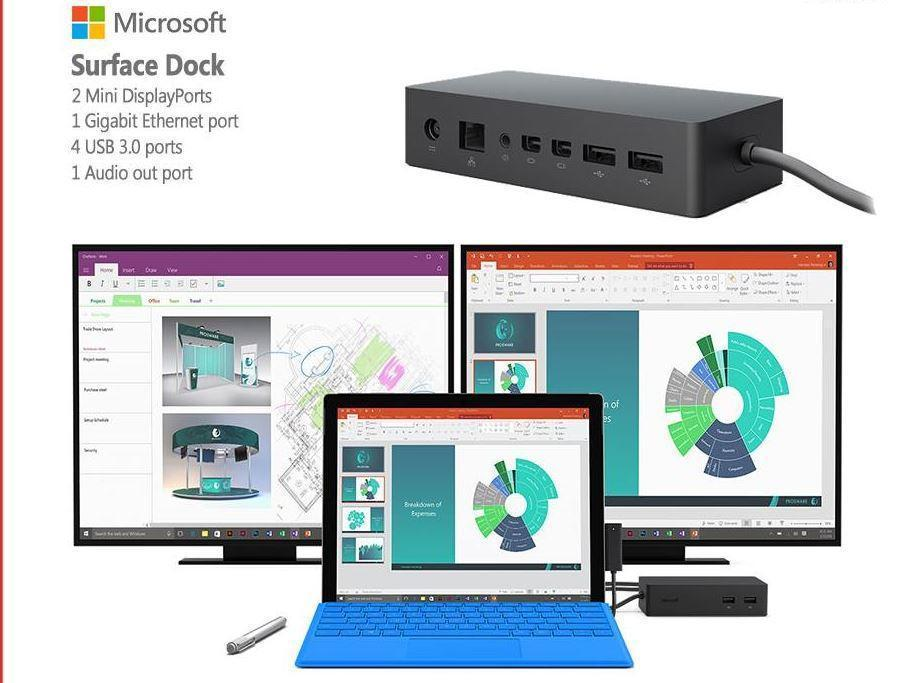 "Ultimate Bundle - MICROSOFT SURFACE PRO 3 EX LEASE TABLET i5-4300U 1.90GHz 4GB 128GB SSD 12"" WEBCAM Windows 10 Pro Keyboard Included Docking Station + 2 X Monitors 23inch"