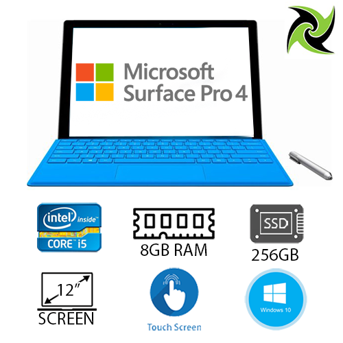"Microsoft Surface Pro 4 EX-LEASE i5-6300U  2.4GHz 8GB RAM 256GB SSD 12"" WEBCAM  Windows 10 Pro, Includes: Keypad and Stylus"