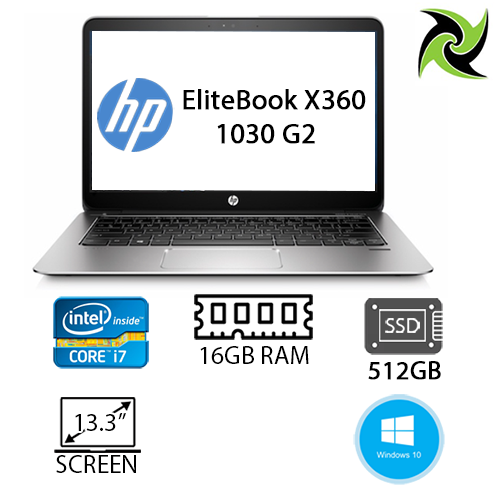 "HP ELITEBOOK X360 1030 G2 EX-LEASE I7-7600U 2.80GHZ 16GB RAM 512GB SSD NO ODD 13"" WEBCAM WIN 10 PRO"
