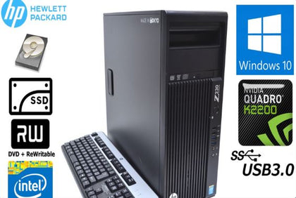 HP Z230 EX-LEASE TOWER  i7-4790 3.6 GHz 16GB RAM 128GB SSD + 2TB HDD NVIDIA QUADRO K2200 4GB Graphics Card WIN 10 PRO