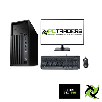 Gaming Bundle!! HP Z240 WorkStation Ex Lease Twr PC i7-6700 CPU 3.40GHZ 16GB RAM 128GB SSD + 1TB HDD DVD-R Nvidia GTX 1650 4GB W10 Pro, Includes: 23