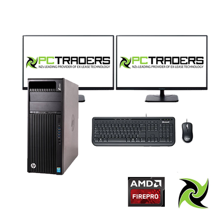 Power User Setup!! HP Z440 WORKSTATION Tower intel CPU E5-1620 V3 3.50 GHZ 32GB RAM 256GB SSD + 1TB HDD FirePro W7100 8GB Graphics Card DVD-R WINDOWS 10 Professiona, Includes: 2 x 22