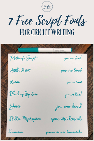 7 Free Script Fonts for Cricut Writing
