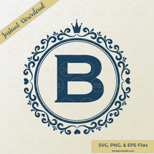 Circle Crown Monogram SVG Cut File