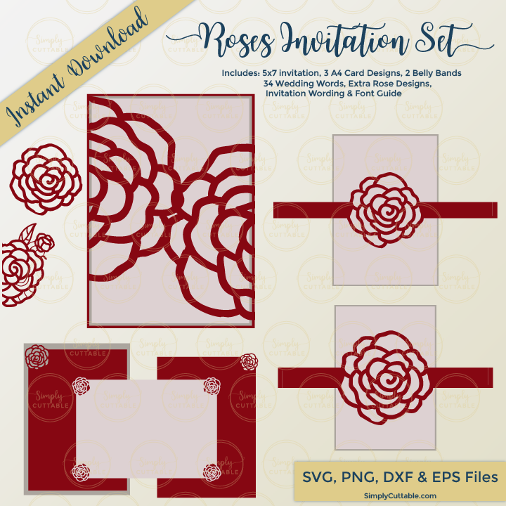 Roses Wedding Invitation SVG Cut Set for Cricut Explore & Silhouette Cameo