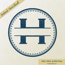 Dashed Split Circle Monogram SVG Cut Files