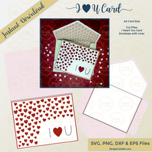 I Heart U Card SVG Bundle, SVG Designs, SVG Files for Cricut, Line Svg, Cut Files, Cutting Files, Silhouette Cameo Files