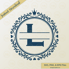 Crown Split Monogram SVG Cut File