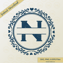 Heart Split Circle Monogram SVG Cut Files