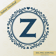 Circle Heart Monogram SVG Cut File