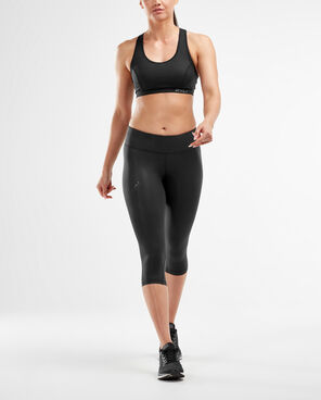 2XU Mid-Rise Compression 3/4 Tight (Women's) Black dotted/blk logo
