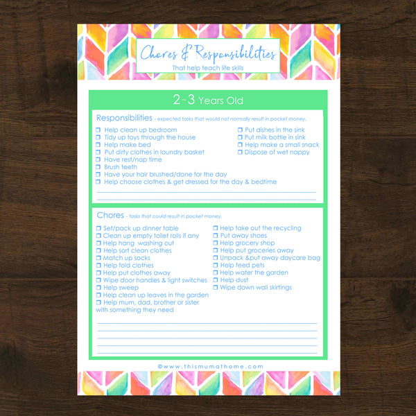Chores & Responsibilities By Age Group - This Mum At Home Printables selling