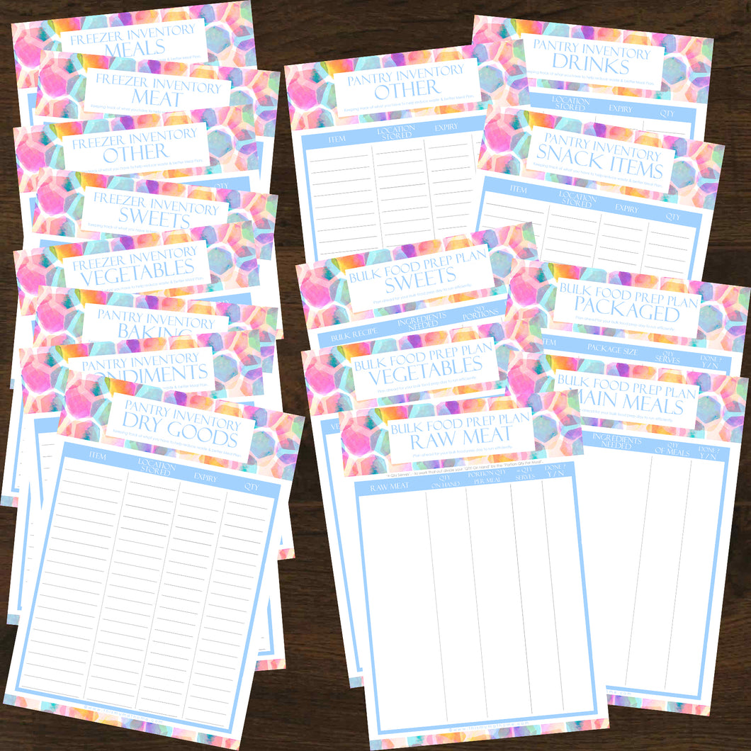 #NEW 16pk Bulk Food Prep Planner + Inventory Trackers Printables - INSTANT DOWNLOAD