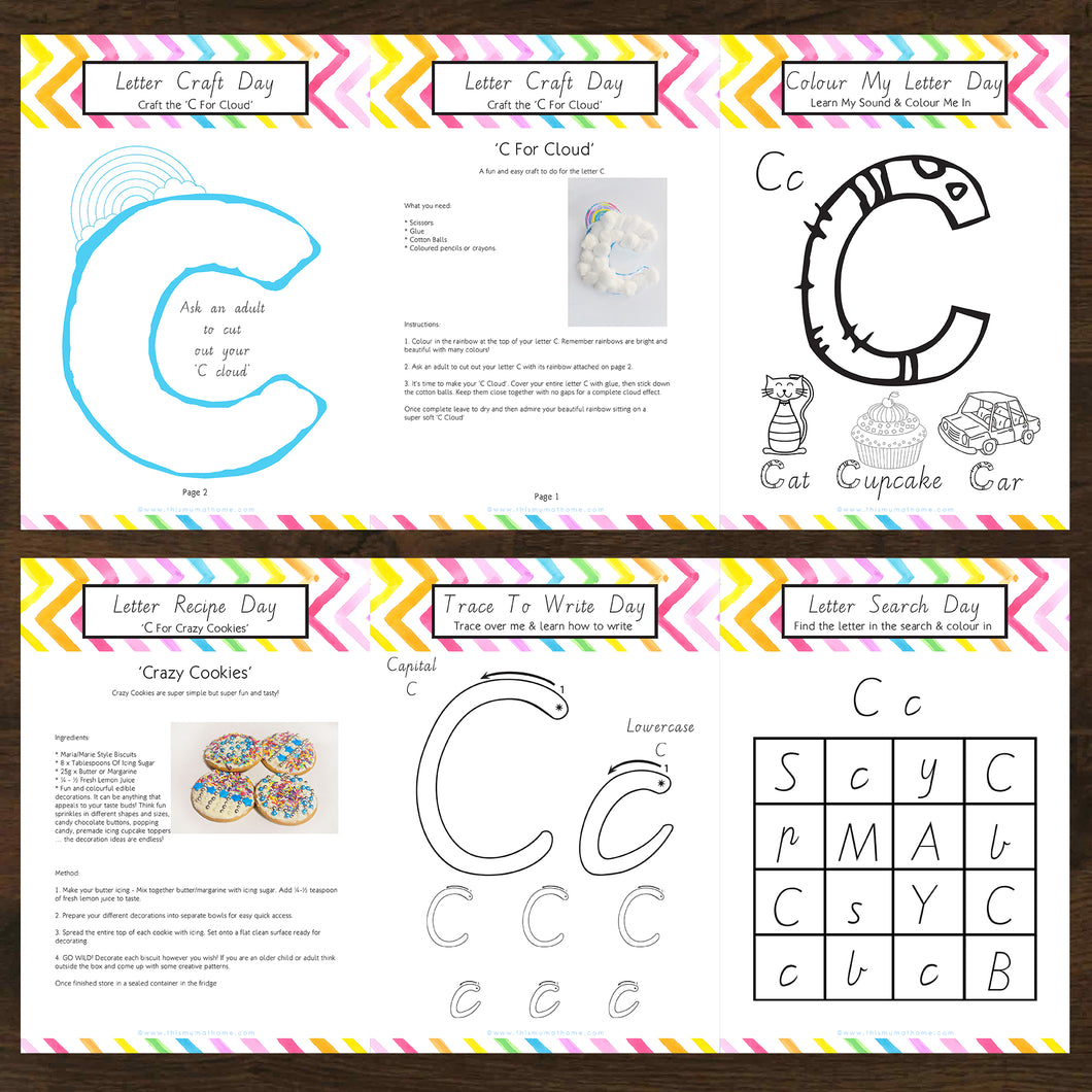 Letter Of The Week 'C' Recipe, Craft & Education 5pk Activity Set Printable - INSTANT DOWNLOAD
