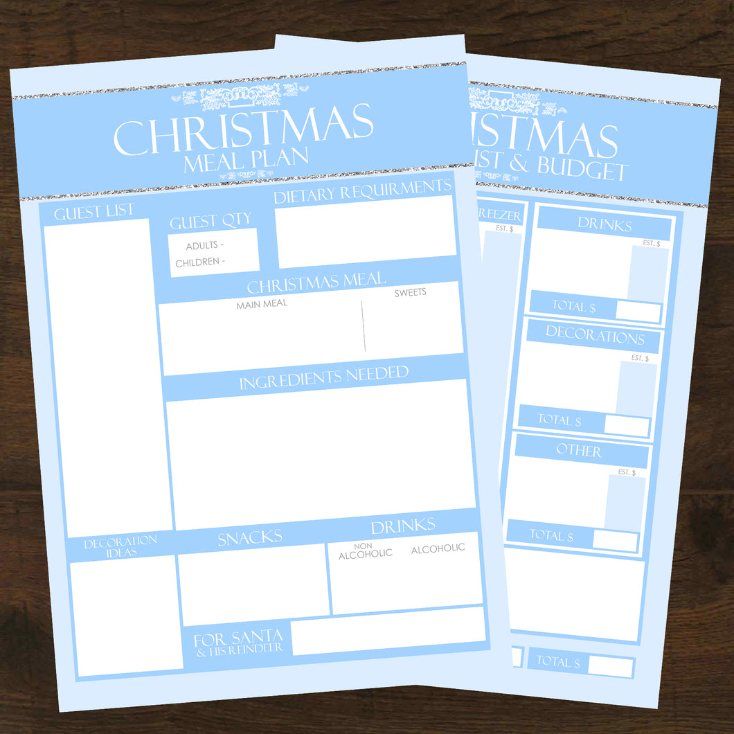 2pk Christmas Meal Planner + Grocery List Budget - INSTANT DOWNLOAD