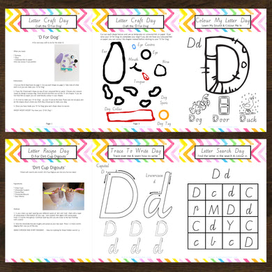 #NEW Letter Of The Week 'D' Recipe, Craft & Education 5pk Activity Set Printable - INSTANT DOWNLOAD