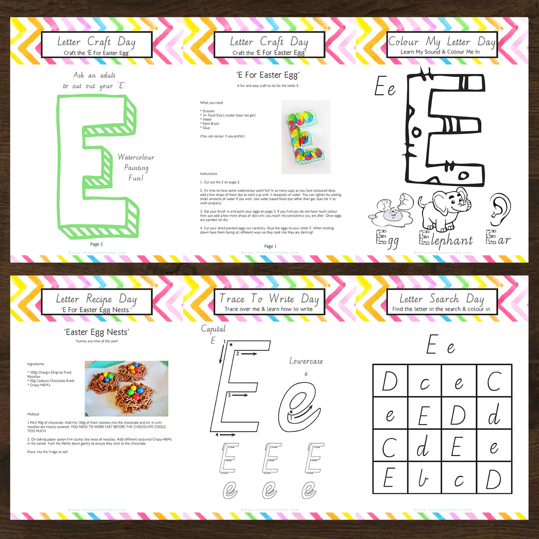 #NEW Letter Of The Week 'E' Recipe, Craft & Education 5pk Activity Set Printable - INSTANT DOWNLOAD