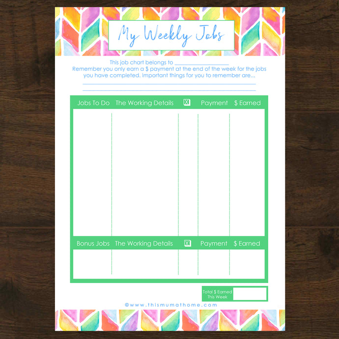 Chore Chart / Kids Weekly Jobs & Pocket Money Printable - INSTANT DOWNLOAD