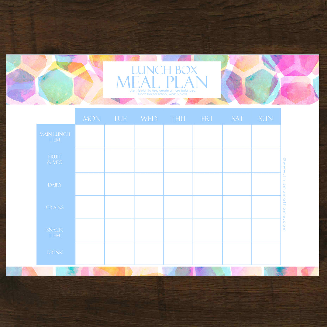 Lunch Box Meal Planner - INSTANT DOWNLOAD PRINTABLE