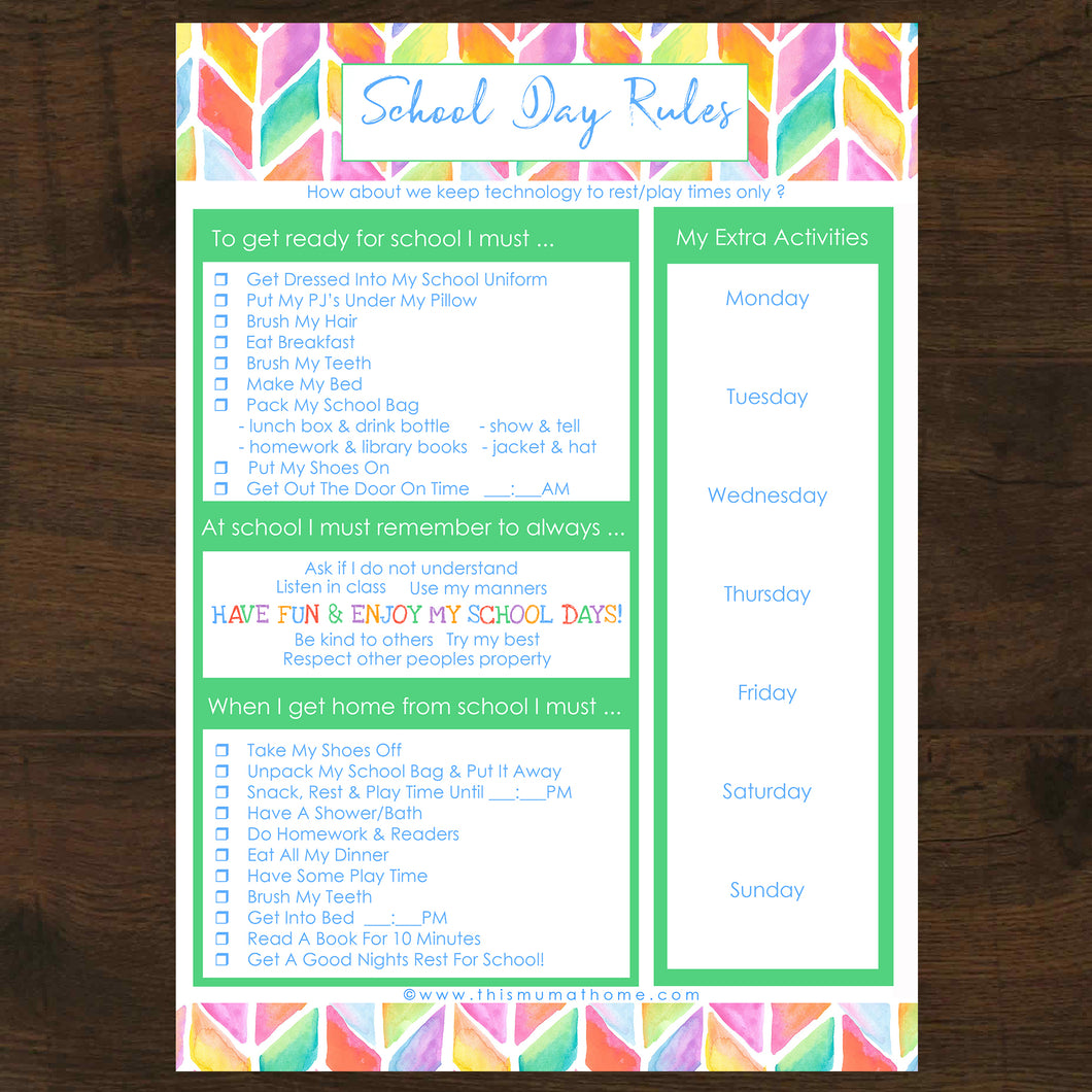 School Day Rules Printable - INSTANT DOWNLOAD