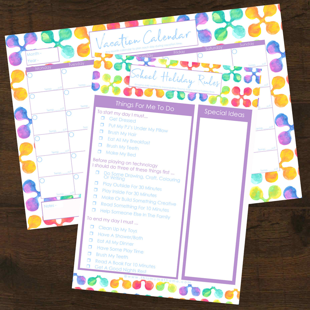 2pk School Holiday Rules + School Holidays Calendar - INSTANT DOWNLOAD PRINTABLE