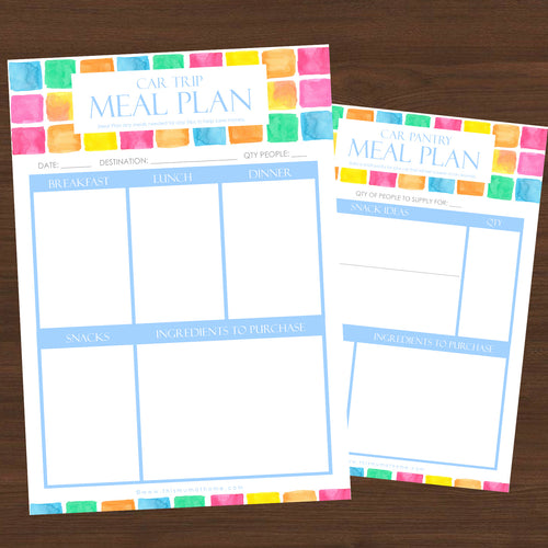 #NEW 2pk Car Trip Meal Planner Printables- INSTANT DOWNLOAD