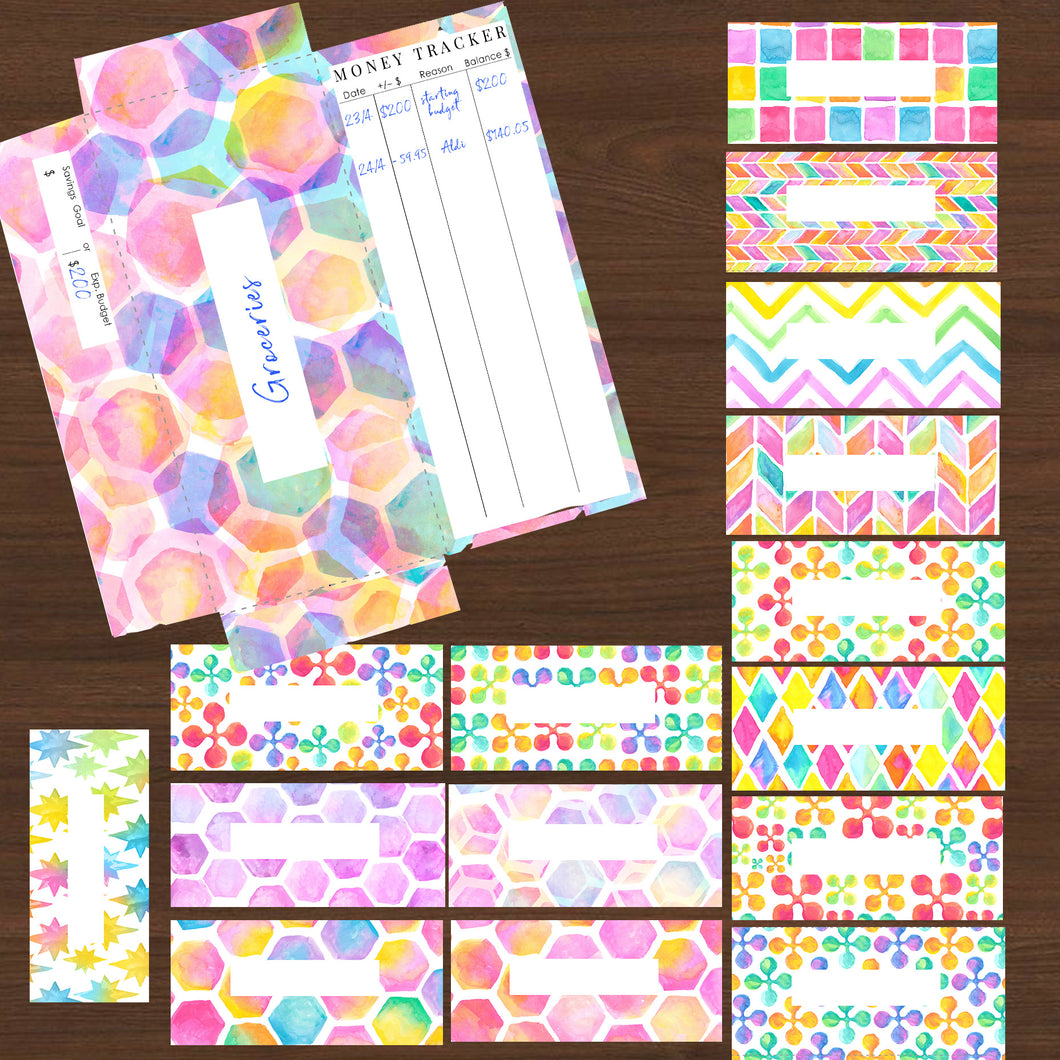 #NEW Cash Envelopes Watercolours 16pk Printables - INSTANT DOWNLOAD