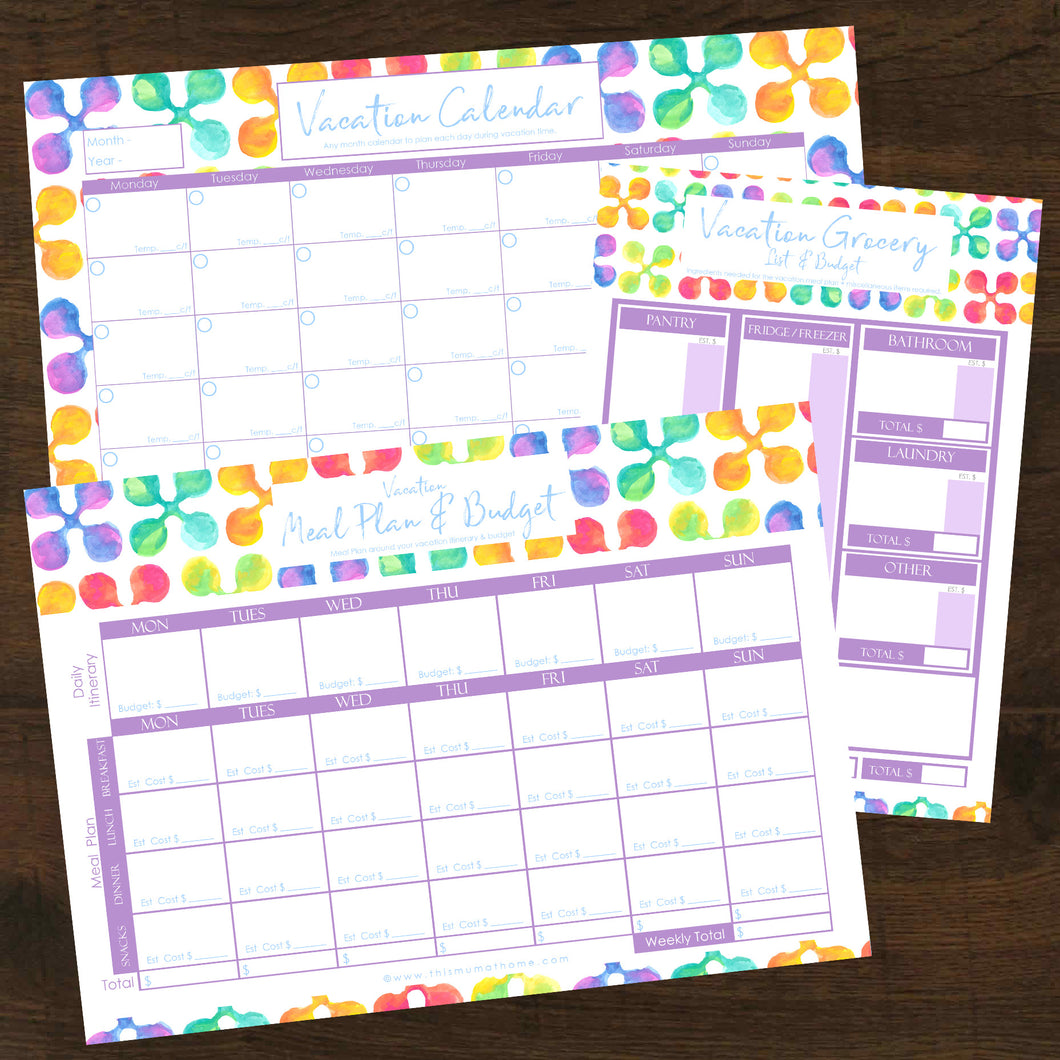 Vacation Meal Planning 3pk Pack - INSTANT DOWNLOAD