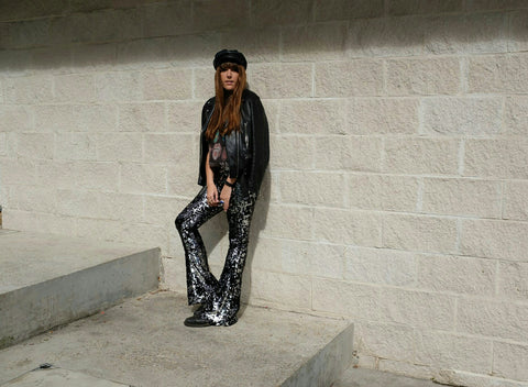 Georgie Rogers BBC Radio 6 DJ, Soho radio DJ, in Sparklebutt Black and Silver sequin flares