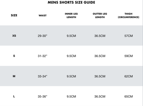 MENS LEGGINGS SIZE GUIDE