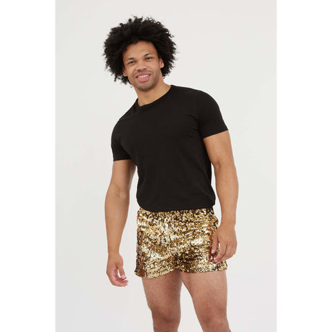 Mens Gold sequin festival shorts
