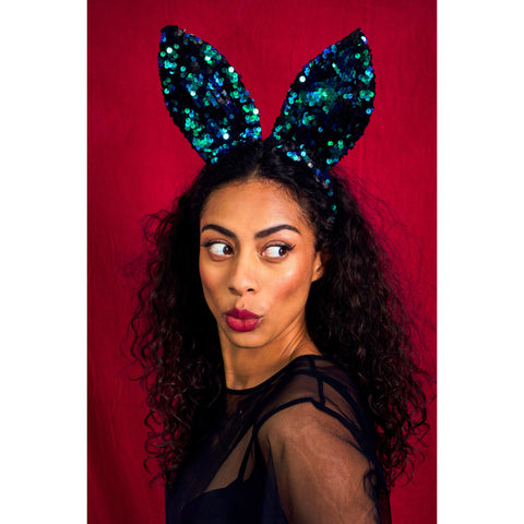 EMERALD GREEN SEQUIN BUNNY EARS HEADBAND | SPARKLEBUTT Ear Headband Sparklebutt