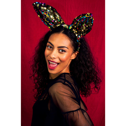 MIDNIGHT BLACK AND SILVER SEQUIN CAT EARS HEADBAND | SPARKLEBUTT