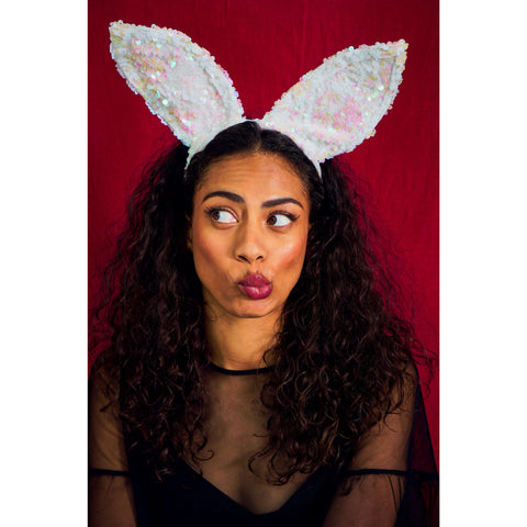 BLACK AND SILVER SEQUIN BUNNY EARS HEADBAND | SPARLKEBUTT