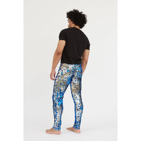 COBALT BLUE SEQUIN LEGGINGS Mens Leggings Sparklebutt