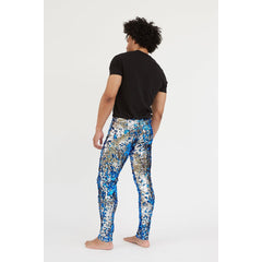 blue silver sequin mens festival leggings
