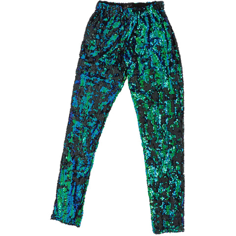 EMERALD BLUE GREEN SEQUIN PARTY PANTS