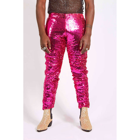 PINK SEQUIN PARTY PANTS