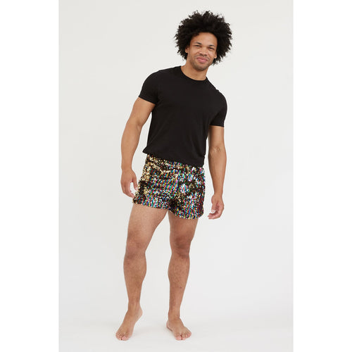 rainbow gold mens sequin shorts