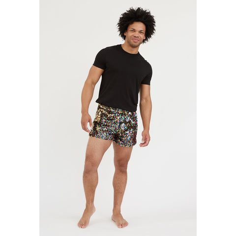 MENS BLACK SEQUIN SHORTS