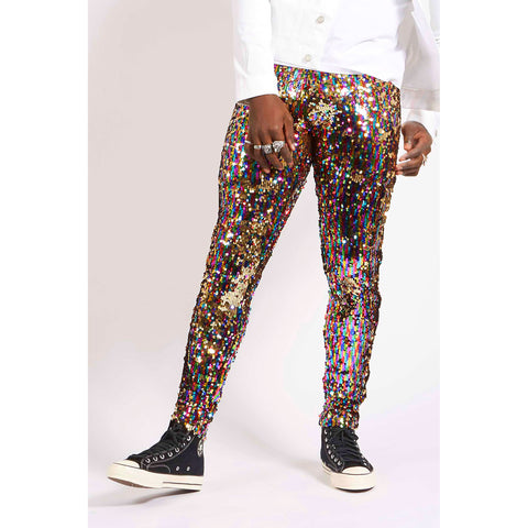 RAINBOW GOLD SEQUIN PARTY PANTS