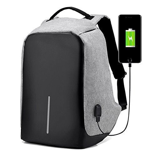 Anti-theft Travel Backpack w/ USB Charging Port - Gray/Black available!