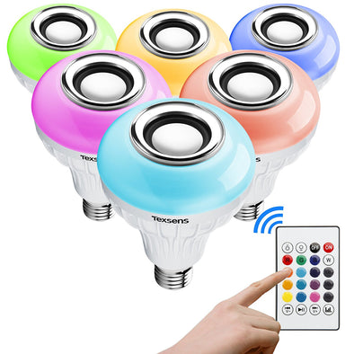 Bluetooth Speaker Lightbulb w/ Multi Color LED Lights