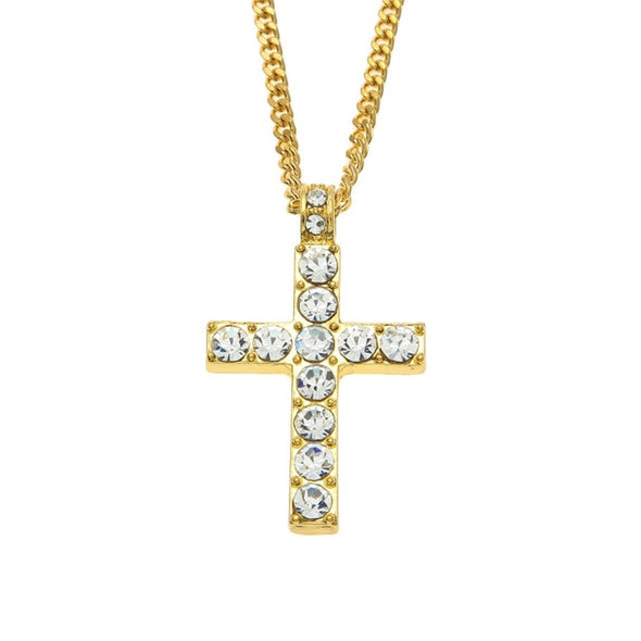 Drop Shipping Hip Hop Alloy Cross Pendant Necklace Iced Out Rhinestone Gold Silver Tone Crucifix Charm Jewelry