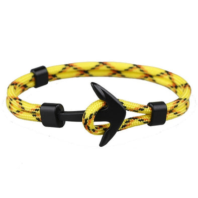 HOMOD 2018 New Fashion Black Color Anchor Bracelets Men Charm Survival Rope Chain Paracord Bracelet Male Wrap Metal Sport Hooks
