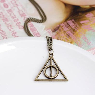 Hot Harry Potter Deathly Hallows Pendant Necklace Time Converter Hourglass Sweater Chain Necklace For Men Women Jewelry Gift