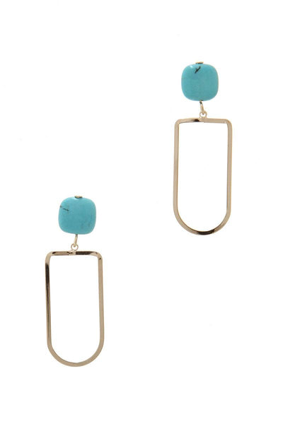 Natural Stone Metal Drop Earring