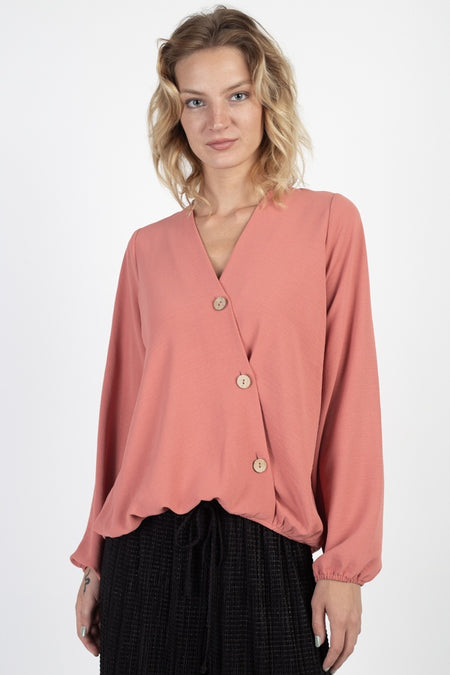 Short Dolman Sleeve V-neck W/button Detail Front Tie Rayon Spandex Cardigan- Smoked Rose